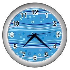 Blue Circle Line Waves Wall Clocks (silver)  by Mariart