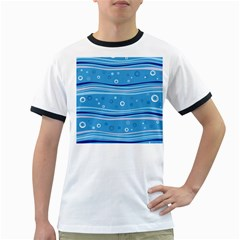 Blue Circle Line Waves Ringer T Shirts
