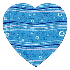 Blue Circle Line Waves Jigsaw Puzzle (heart) by Mariart