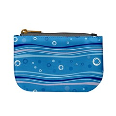 Blue Circle Line Waves Mini Coin Purses by Mariart