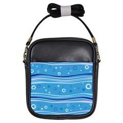 Blue Circle Line Waves Girls Sling Bags by Mariart