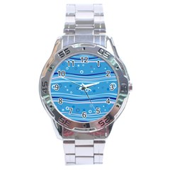 Blue Circle Line Waves Stainless Steel Analogue Watch