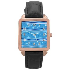 Blue Circle Line Waves Rose Gold Leather Watch  by Mariart