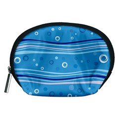 Blue Circle Line Waves Accessory Pouches (medium)  by Mariart