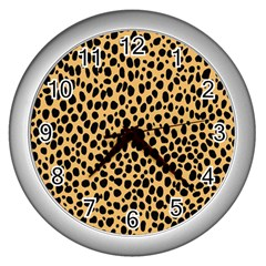 Cheetah Skin Spor Polka Dot Brown Black Dalmantion Wall Clocks (silver)