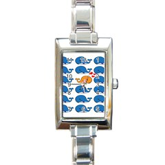 Fish Animals Whale Blue Orange Love Rectangle Italian Charm Watch by Mariart