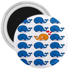 Fish Animals Whale Blue Orange Love 3  Magnets by Mariart