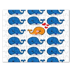 Fish Animals Whale Blue Orange Love Rectangular Jigsaw Puzzl by Mariart