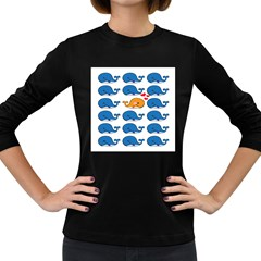 Fish Animals Whale Blue Orange Love Women s Long Sleeve Dark T Shirts by Mariart