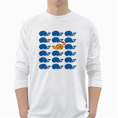 Fish Animals Whale Blue Orange Love White Long Sleeve T Shirts