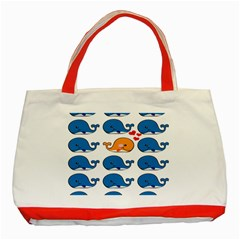 Fish Animals Whale Blue Orange Love Classic Tote Bag (red) by Mariart