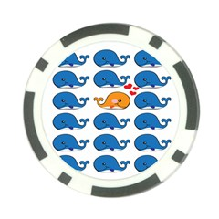 Fish Animals Whale Blue Orange Love Poker Chip Card Guard (10 Pack) by Mariart
