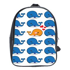 Fish Animals Whale Blue Orange Love School Bags(large)