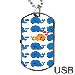 Fish Animals Whale Blue Orange Love Dog Tag Usb Flash (one Side) by Mariart
