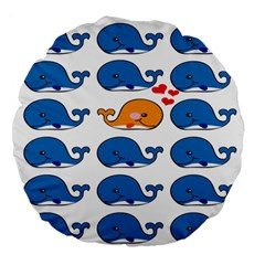 Fish Animals Whale Blue Orange Love Large 18  Premium Round Cushions by Mariart