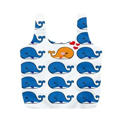 Fish Animals Whale Blue Orange Love Full Print Recycle Bags (m)  by Mariart