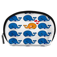 Fish Animals Whale Blue Orange Love Accessory Pouches (large)  by Mariart