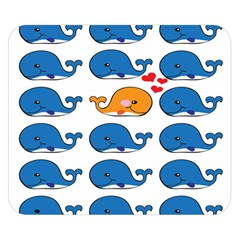 Fish Animals Whale Blue Orange Love Double Sided Flano Blanket (small)  by Mariart