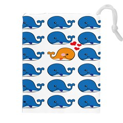 Fish Animals Whale Blue Orange Love Drawstring Pouches (xxl) by Mariart