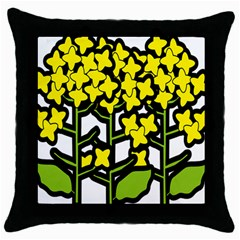 Flower Floral Sakura Yellow Green Leaf Throw Pillow Case (black) by Mariart