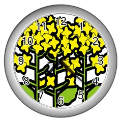 Flower Floral Sakura Yellow Green Leaf Wall Clocks (silver)  by Mariart