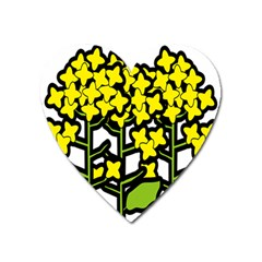 Flower Floral Sakura Yellow Green Leaf Heart Magnet by Mariart