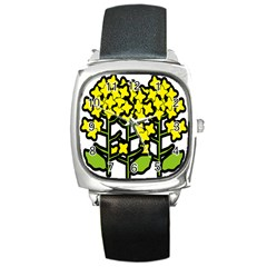 Flower Floral Sakura Yellow Green Leaf Square Metal Watch by Mariart