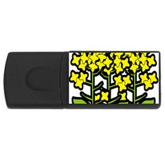 Flower Floral Sakura Yellow Green Leaf Usb Flash Drive Rectangular (4 Gb) by Mariart