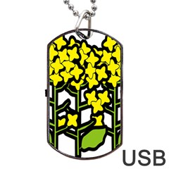 Flower Floral Sakura Yellow Green Leaf Dog Tag Usb Flash (two Sides) by Mariart