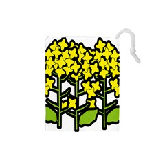 Flower Floral Sakura Yellow Green Leaf Drawstring Pouches (small)  by Mariart