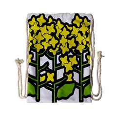 Flower Floral Sakura Yellow Green Leaf Drawstring Bag (small) by Mariart