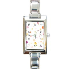 Flower Floral Star Balloon Bubble Rectangle Italian Charm Watch by Mariart