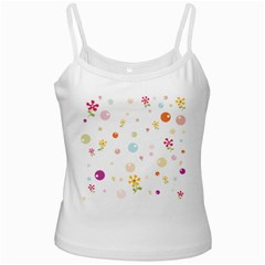 Flower Floral Star Balloon Bubble White Spaghetti Tank by Mariart