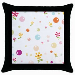 Flower Floral Star Balloon Bubble Throw Pillow Case (black) by Mariart
