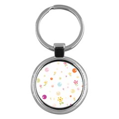 Flower Floral Star Balloon Bubble Key Chains (round)  by Mariart