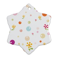 Flower Floral Star Balloon Bubble Snowflake Ornament (two Sides) by Mariart