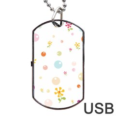 Flower Floral Star Balloon Bubble Dog Tag Usb Flash (one Side) by Mariart