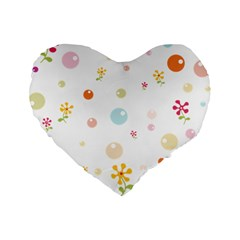 Flower Floral Star Balloon Bubble Standard 16  Premium Flano Heart Shape Cushions by Mariart