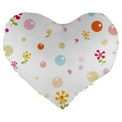 Flower Floral Star Balloon Bubble Large 19  Premium Flano Heart Shape Cushions by Mariart