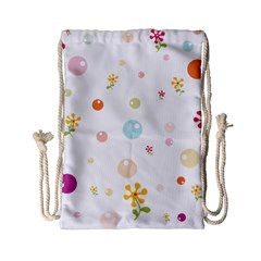 Flower Floral Star Balloon Bubble Drawstring Bag (small) by Mariart