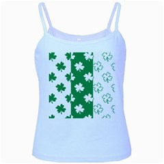 Flower Green Shamrock White Baby Blue Spaghetti Tank