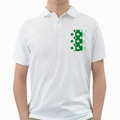 Flower Green Shamrock White Golf Shirts by Mariart