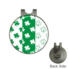 Flower Green Shamrock White Hat Clips With Golf Markers by Mariart