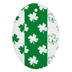 Flower Green Shamrock White Oval Ornament (two Sides) by Mariart