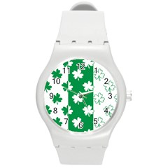 Flower Green Shamrock White Round Plastic Sport Watch (m) by Mariart