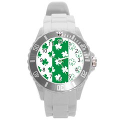 Flower Green Shamrock White Round Plastic Sport Watch (l)