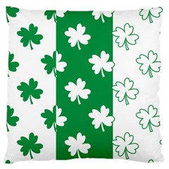 Flower Green Shamrock White Large Cushion Case (one Side) by Mariart