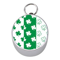 Flower Green Shamrock White Mini Silver Compasses by Mariart