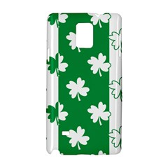Flower Green Shamrock White Samsung Galaxy Note 4 Hardshell Case by Mariart