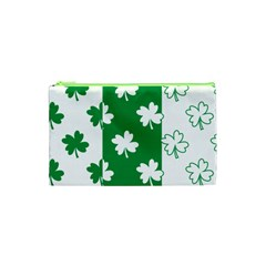 Flower Green Shamrock White Cosmetic Bag (xs) by Mariart